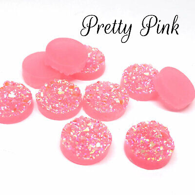 10 x Pretty Pink AB Druzy 11.5 - 12mm Cabochon Perfect for Earrings Drusy