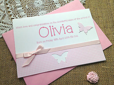 Large Handmade Personalised New Baby Christening Card - Boy or Girl