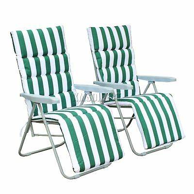 FoxHunter 2 X Sun Reclining Recliner Chairs Garden Relaxer Lounger Cushion Green