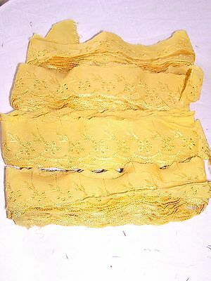 Lot de 12 M  Broderie ★Dentelle Lace Trim 4,5 cm★Au metre Couture★ Jaune Moutard