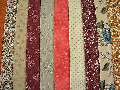 "10 Jelly Roll Strips Brick & Cream   44"" X 2.5""  100% Cotton Patchwork/quilt Ats"
