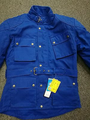 New Mens BLUE COTTON WAXED Motorcycle Breathable, WP Lined, ARMOUR BIKER JACKET