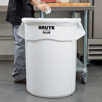 55 Gallon NSF Rubbermaid BRUTE White Plastic Trash Can