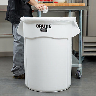 Rubbermaid BRUTE FG265500WHT White 55 Gallon Trash Can 690FG2655WH
