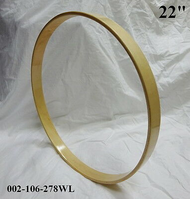 "22"" Maple Bass Drum Hoop/Ring/Rim (Rounded Front) Lacquered-Clear 002-106-278WL"