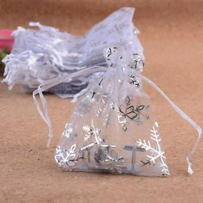 White 7x9 9x12 Snowflake Organza Wedding Jewellery Christmas Gift Pouch  Bags