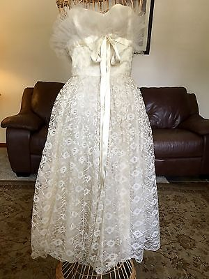 1950s White Lace Tulle Party Prom Wedding Dress Gown True Vintage S/M Gorgeous!