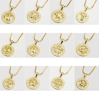 """NEW 18k Yellow Gold Filled 12 Horoscope Pendant Necklace 18"""" Chain Jewelry HOT"""