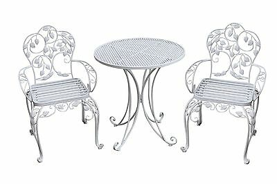 gartenset bistroset metall antik stil gartenm bel garnitur garten cafe weiss eur 199 90. Black Bedroom Furniture Sets. Home Design Ideas