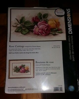 "Dimensions ROSE CUTTINGS COUNTED CROSS STITCH KIT 14/"" X 9/"""