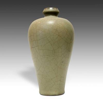 Chinese Porcelain Celadon Green Crackle Vase With Rosewood Base