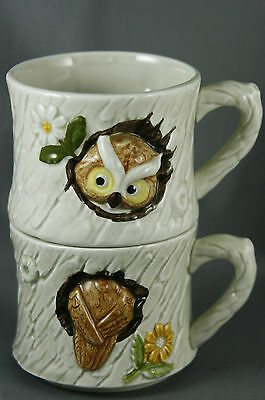 Vtg 70s Enesco Stacking Owl Mugs Ceramic Japan with Original Foil Labels