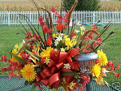 Troy OH Piqua Cemetery Grave Flowers Tombstone Saddles Fall Cemetery Sprays