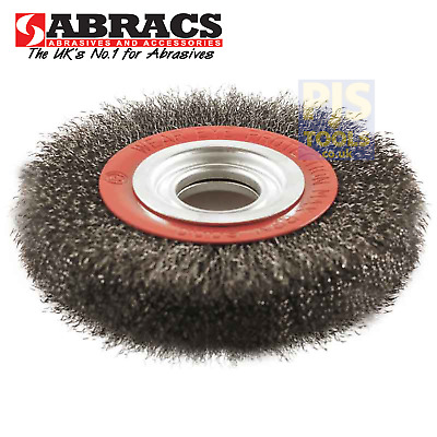 Abracs 150mm x 20mm bore 6in steel crimped wire bench grinder wheel multi bushed