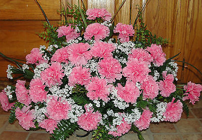 Breast Cancer Cemetery Memorial Grave Silk Flowers Pink Carnations Babys Breath