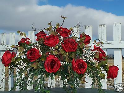 Fall Autumn Tombstone Saddles Funeral Caskets Grave Silk Flowers Arrg Red Roses