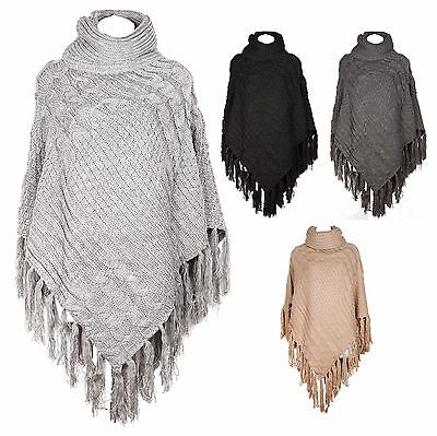 Womens Winter Thick Knit Poncho Cowl Neck Cape Warm Cardigan Coat Outter Sweater