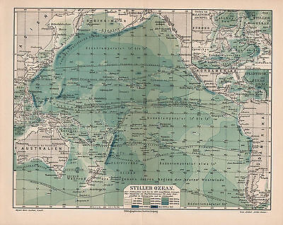 "Antique map. ""PACIFIC OCEAN"". Circa 1905"