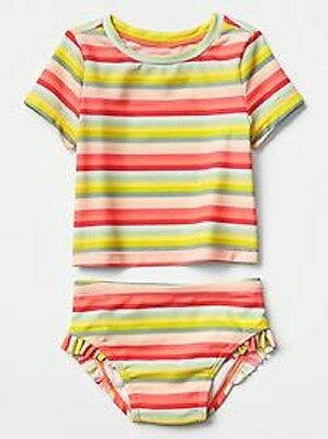 Baby Gap Girl Rashguard Set Two Piece Coral Swim Suit Size 3 4 5 Years New