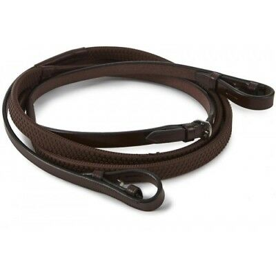Equestrian New English Quality Soft Strongriding Leather Rubber Reins Brown Full