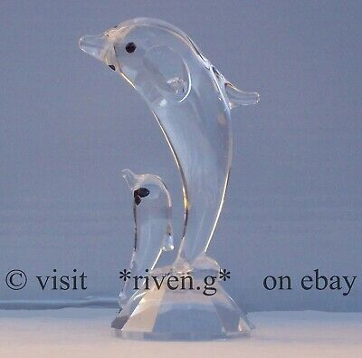 DOUBLE DOLPHINS@AUSTRIAN CRYSTAL@Glass@Unique VALENTINES@CUT Crystal Gift Set