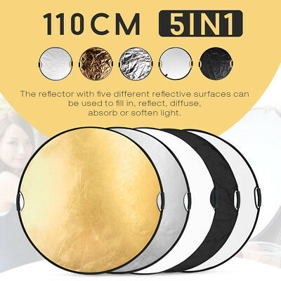 """43""""/110cm Photo Studio 5in1 Multi Collapsible Disc Light Reflector &Handle Grips"""
