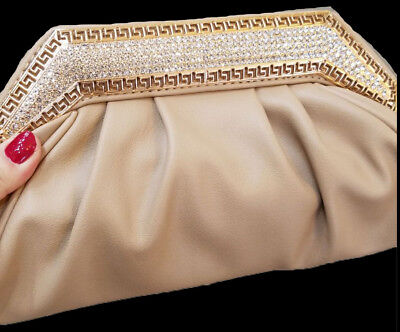 New Beige Camel Leather Gold With Clear  Rhinestone Evening  Clutch Bag