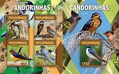 Z08 IMPERFORATED MOZ16128ab MOZAMBIQUE 2016 Swallows MNH Set