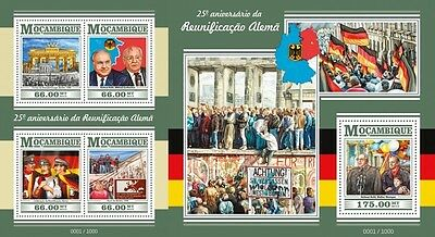 Z08 Imperforated MOZ15419ab MOZAMBIQUE 2015 German reunification MNH Set