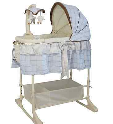 Brand New Baby Infant Rocking Bassinet Cot Bed BLUE
