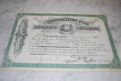 Stock Certificate - Connecticut Fire Insurance Company – 1893