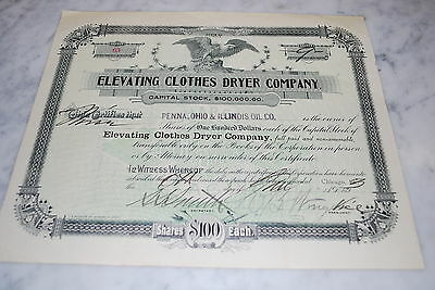Stock Certificate - ELEVATING CLOTHES DRYER COMPANY – ILLINOIS 1893