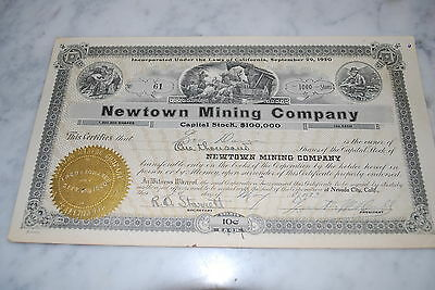 Stock Certificate - NEWTOWN MINING COMPANY – CALIFORNIA 1923
