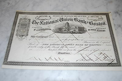 Stock Certificate - THE NATIONAL UNION BANK OF BOSTON – MASSACHSETTS 1879