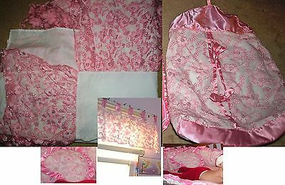 4 Pieces: Baby Crib Bed Skirt Pink Glitter,Window Curtain Valance,Diaper Stacker