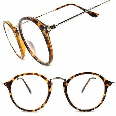 Classic Indie Stylish Tortoise Vintage Retro Circle Round Clear Lens Eye Glasses