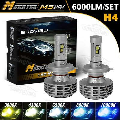 BroView H4 HB2 9003 6000LM Headlamp High Low Beam LED Stock & HID Replace