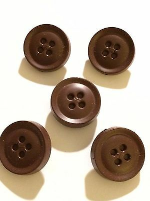 """5 Vintage plastic buttons lot blue color self shank /""""fake sew through/"""" look"""