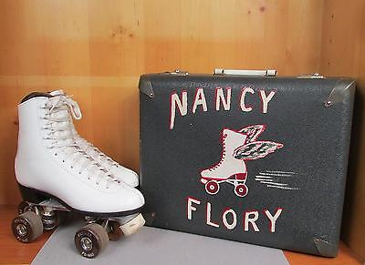 Vintage VIP Leo Star Leather Rollerskates Sz.9 Chicago Hand Painted Case N.Flory