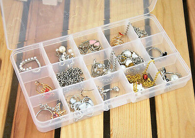 15Multi-use Clear Plastic Divided Sewing Storage Boxes Rhinestone Nail Art Tips&