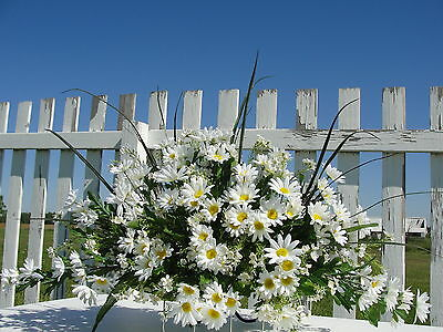 Cemetery Headstone Saddle White Daisy Sympathy Grave One Sided Custom Summer