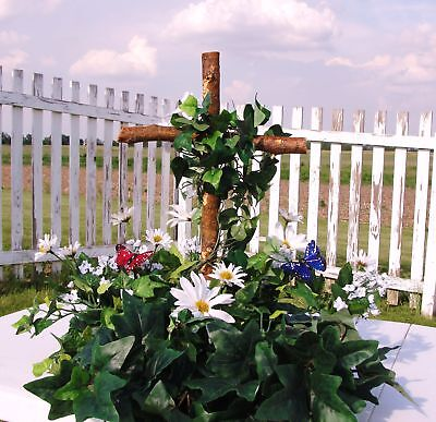 Christian Wooden Cross Religious Funeral Sympathy Ivy Daisies Silk Ivy Greenery