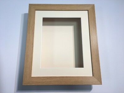 12 x 10 3D Deep Display/Craft/Casting Frame Oak -Choose from 6 mount colours