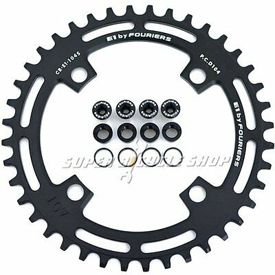 FOURIERS CNC Single Narrow Wide Chainring P.C.D 104mm 40T For SHIMANO , Black