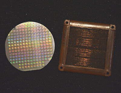 Magnetic core memory, 2N1613 transistor, plus 6 inch silicon wafer of SRAM chips