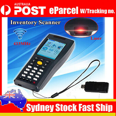 Portable Bar Code Data Collector 433MHz Wireless Laser Barcode Scanner With LCD