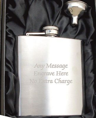 Personalised Stainless Steel 6oz Hip Flask,Funnel and Gift Box