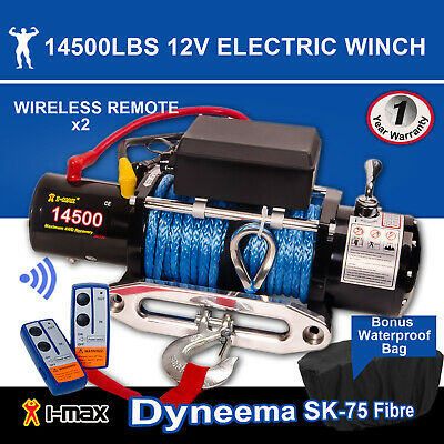 12V 14500LBS/6577KGS Wireless Synthetic Rope Electric Winch 4WD ATV BOAT TRUCK