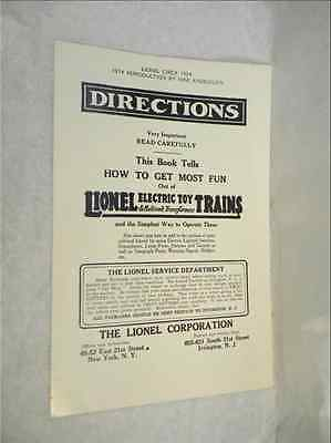 1924 Lionel Instruction Book   1974 Max Knoecklein Reproduction