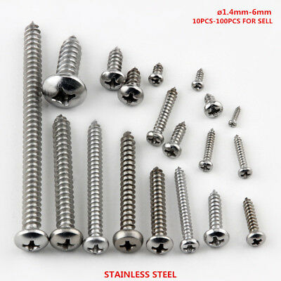 Stainless Steel Round Head Phillips Pan Head Self-tapping Screws M1-M6 10-100PCS